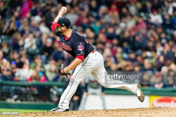 Relief pitcher Nick Goody of the Cleveland Indians pitches during the ninth inning against the Minnesota Twins at Progressive Field on May 12 2017 in...