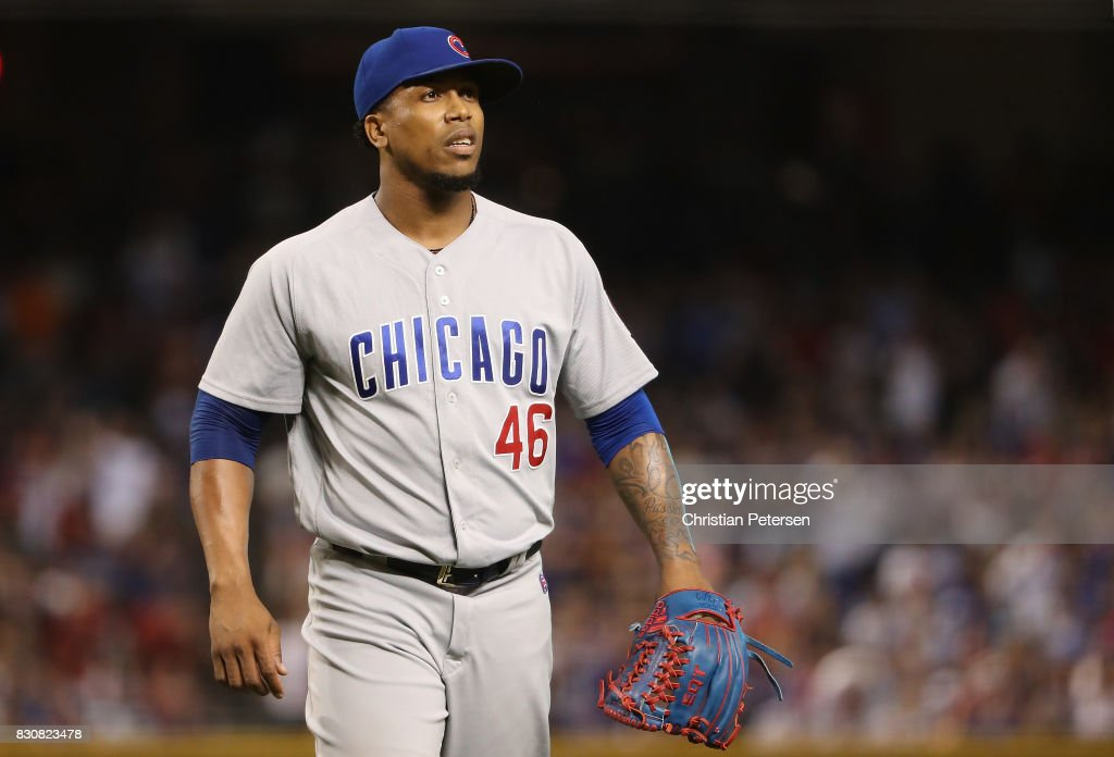 Relief pitcher Pedro Strop #46 of the Chicago Cubs reacts after pitching against the Arizona Diamondbacks during the MLB game at Chase Field on August 11, 2017 in Phoenix, Arizona. The Cubs defeated the Diamondbacks 8-3.