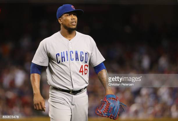Relief pitcher Pedro Strop of the Chicago Cubs reacts after pitching against the Arizona Diamondbacks during the MLB game at Chase Field on August 11...
