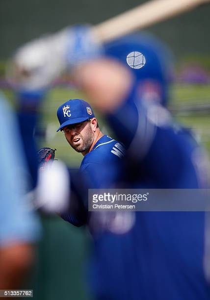 Relief pitcher Peter Moylan of the Kansas City Royals pitches against the Texas Rangers during the fifth inning of the cactus leauge spring training...