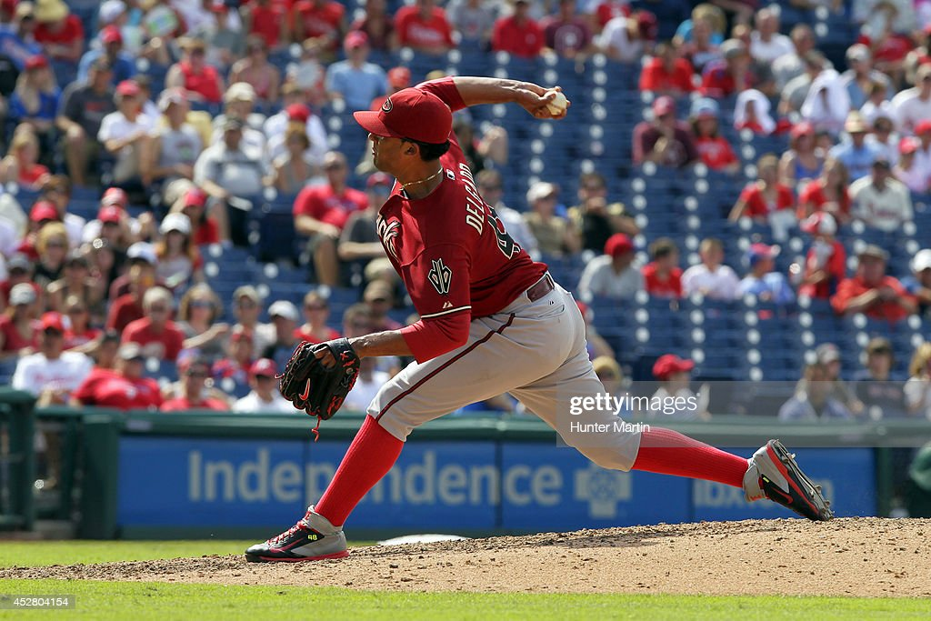 Relief pitcher Randall Delgado #48 of the Arizona Diamondbacks throws a pitch in the eighth inning during a game against the Arizona Diamondbacks at Citizens Bank Park on July 27, 2014 in Philadelphia, Pennsylvania. The Phillies won 4-2.