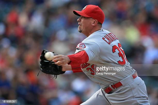 Relief pitcher Randy Choate of the St Louis Cardinals delivers against the Colorado Rockies at Coors Field on September 19 2013 in Denver Colorado