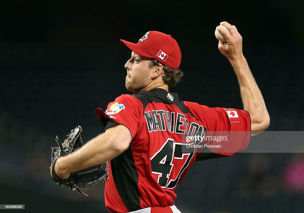 Relief pitcher Scott Mathieson #47 of Canada pitches against Italy during the third inning of the World Baseball Classic First Round Group D game at Chase Field on March 8, 2013 in Phoenix, Arizona.