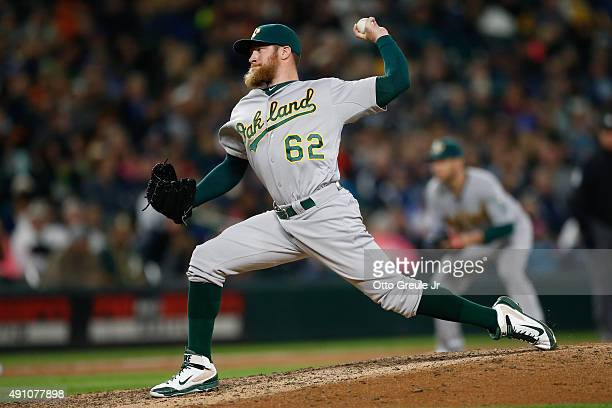 Relief pitcher Sean Doolittle of the Oakland Athletics pitches against the Seattle Mariners in the ninth inning at Safeco Field on October 2 2015 in...