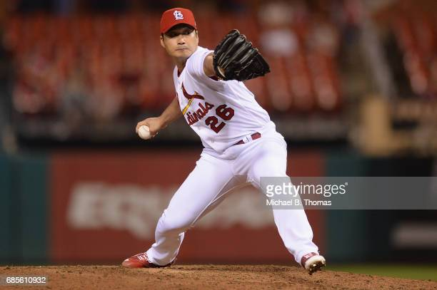Relief pitcher SeungHwan Oh of the St Louis Cardinals pitches in the ninth inning against the San Francisco Giants at Busch Stadium on May 19 2017 in...