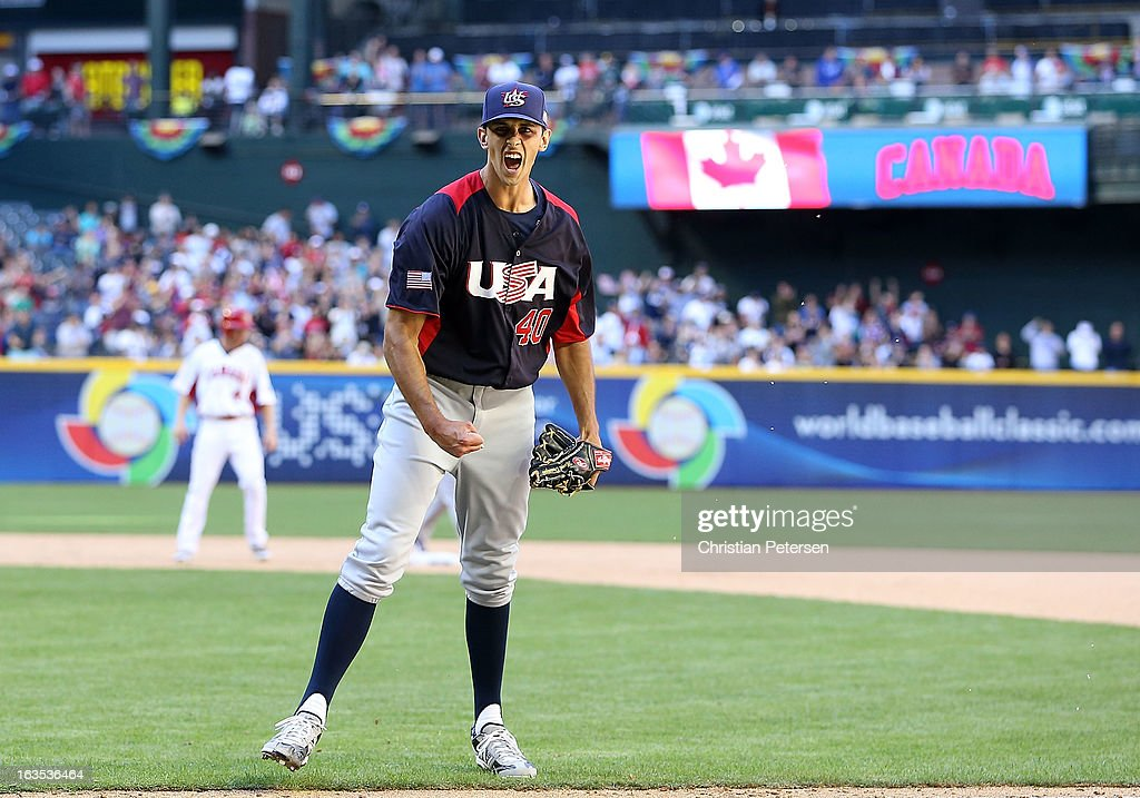 Relief pitcher Steve Cishek #40 of USA celebrates after getting out of the eighth inning against Canada during the World Baseball Classic First Round Group D game at Chase Field on March 10, 2013 in Phoenix, Arizona. USA defeated Canada 9-4.