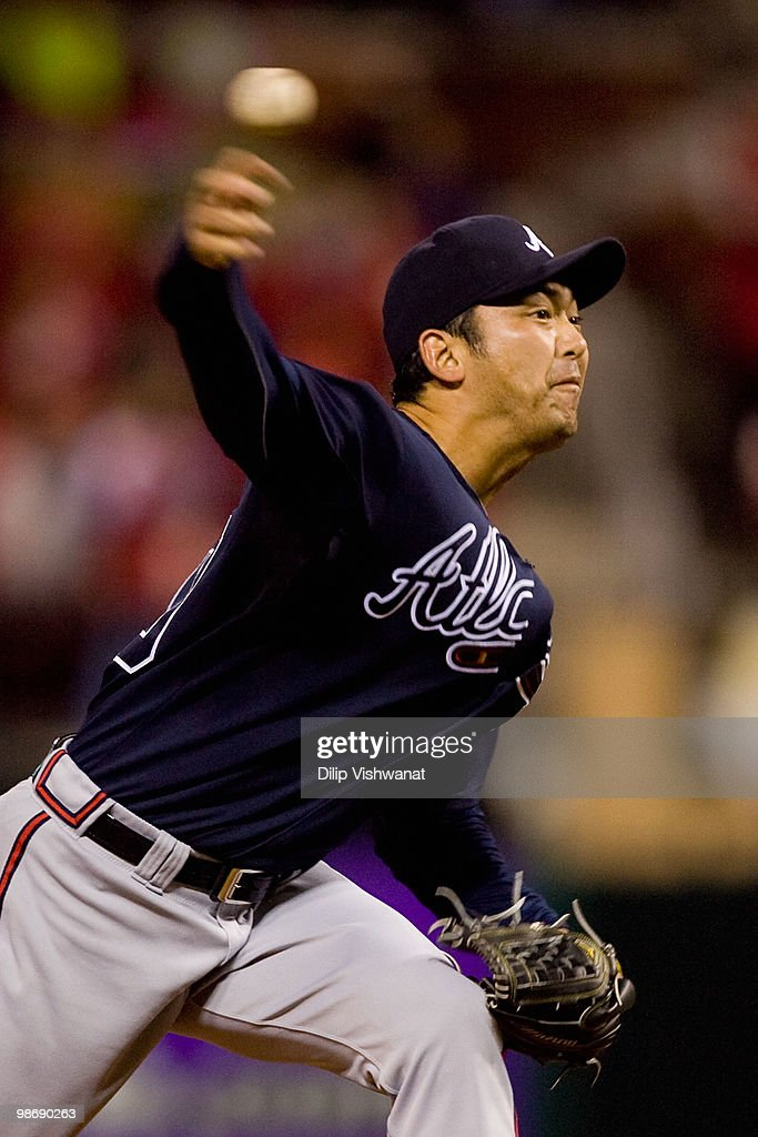Relief pitcher Takashi Sato #40 of the Atlanta Braves throws against the St. Louis Cardinals at Busch Stadium on April 26, 2010 in St. Louis, Missouri.