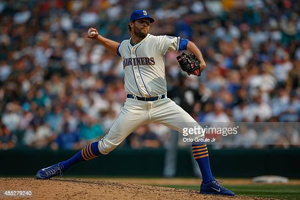 Relief pitcher Tom Wilhelmsen of the Seattle Mariners pitches against the Chicago White Sox at Safeco Field on August 23 2015 in Seattle Washington