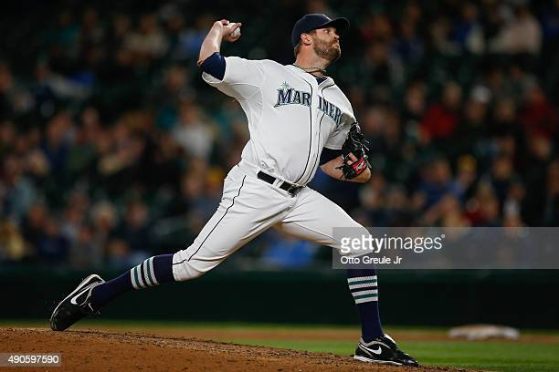 Relief pitcher Tom Wilhelmsen of the Seattle Mariners pitches against the Houston Astros in the eighth inning at Safeco Field on September 29 2015 in...