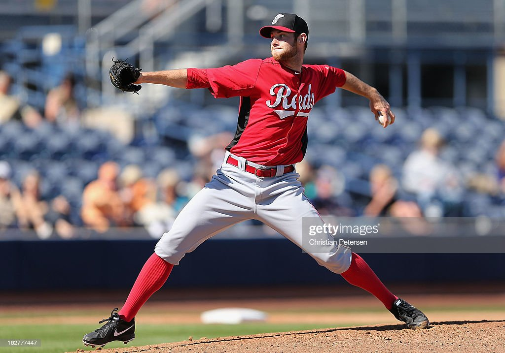 Relief pitcher <a gi-track='captionPersonalityLinkClicked' href=/galleries/search?phrase=Tony+Cingrani&family=editorial&specificpeople=9704690 ng-click='$event.stopPropagation()'>Tony Cingrani</a> #52 of the Cincinnati Reds pitches against the San Diego Padres during the spring training game at Peoria Stadium on February 26, 2013 in Peoria, Arizona.