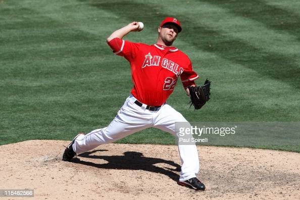 Relief pitcher Trevor Bell of the Los Angeles Angels of Anaheim throws a pitch during the game against the New York Yankees on June 5 2011 at Angel...