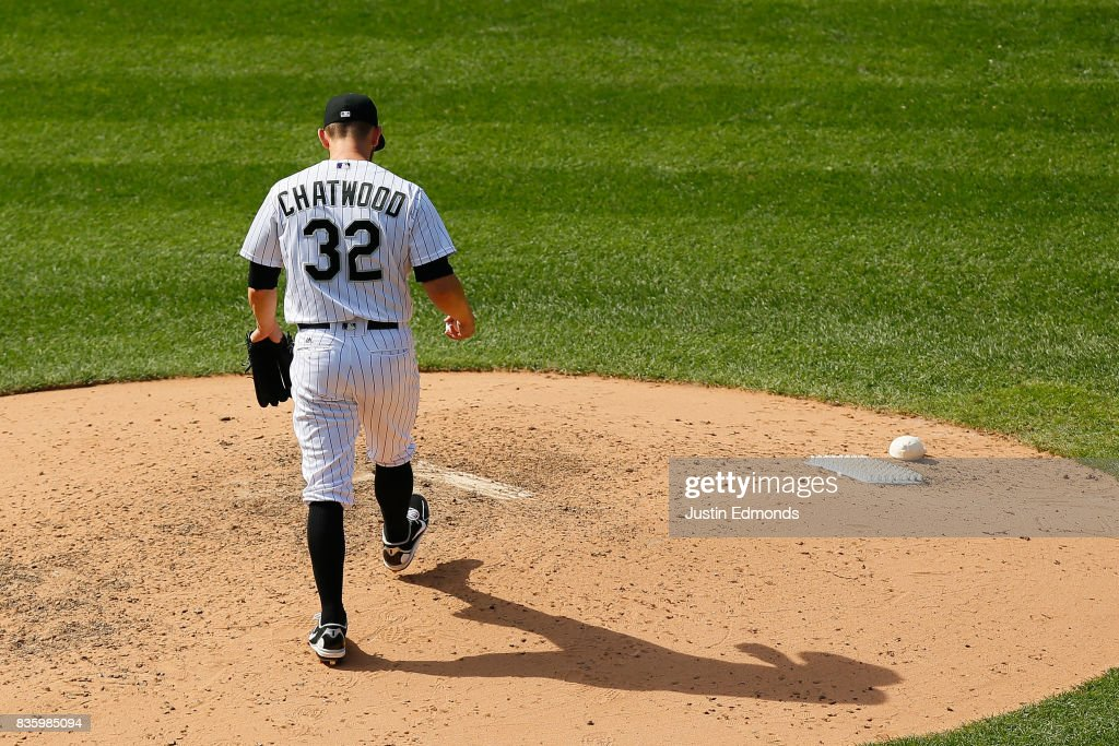 Relief pitcher Tyler Chatwood #32 of the Colorado Rockies walks back to the mound after giving up a home run to Jesus Aguilar of the Milwaukee Brewers during the seventh inning at Coors Field on August 20, 2017 in Denver, Colorado.