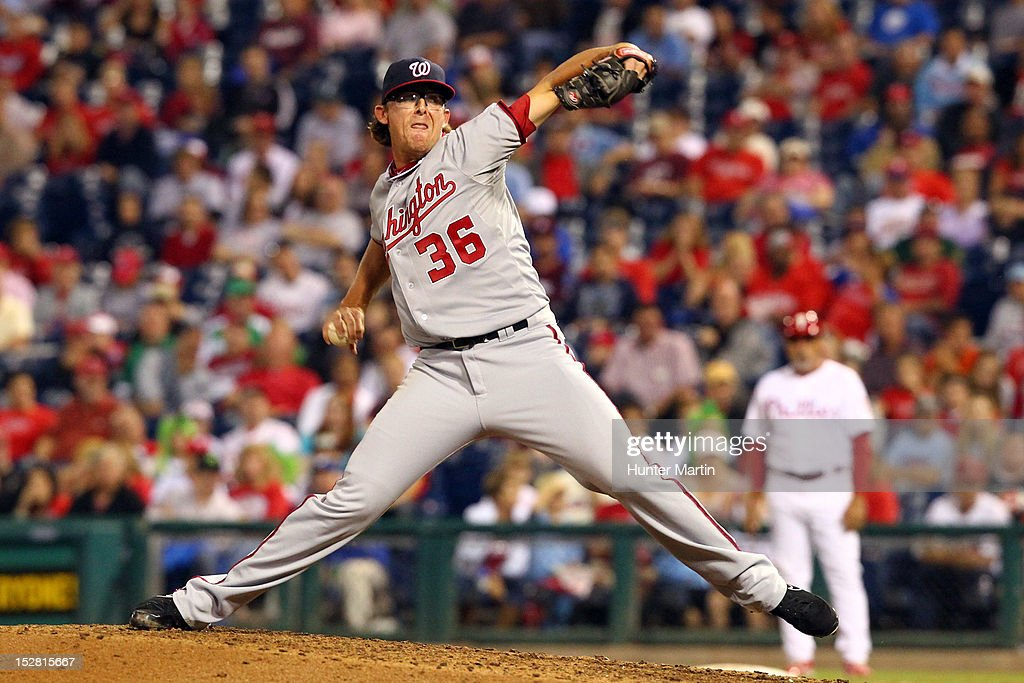 Relief pitcher <a gi-track='captionPersonalityLinkClicked' href=/galleries/search?phrase=Tyler+Clippard&family=editorial&specificpeople=4172556 ng-click='$event.stopPropagation()'>Tyler Clippard</a> #36 of the Washington Nationals throws a pitch during a game against the Philadelphia Phillies at Citizens Bank Park on September 26, 2012 in Philadelphia, Pennsylvania. The Nationals won 8-4.