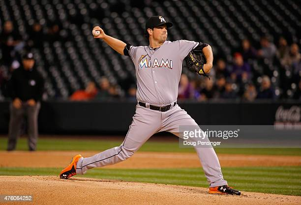 Relief pitcher Vin Mazzaro of the Miami Marlins delivers against the Colorado Rockies at Coors Field on June 5 2015 in Denver Colorado