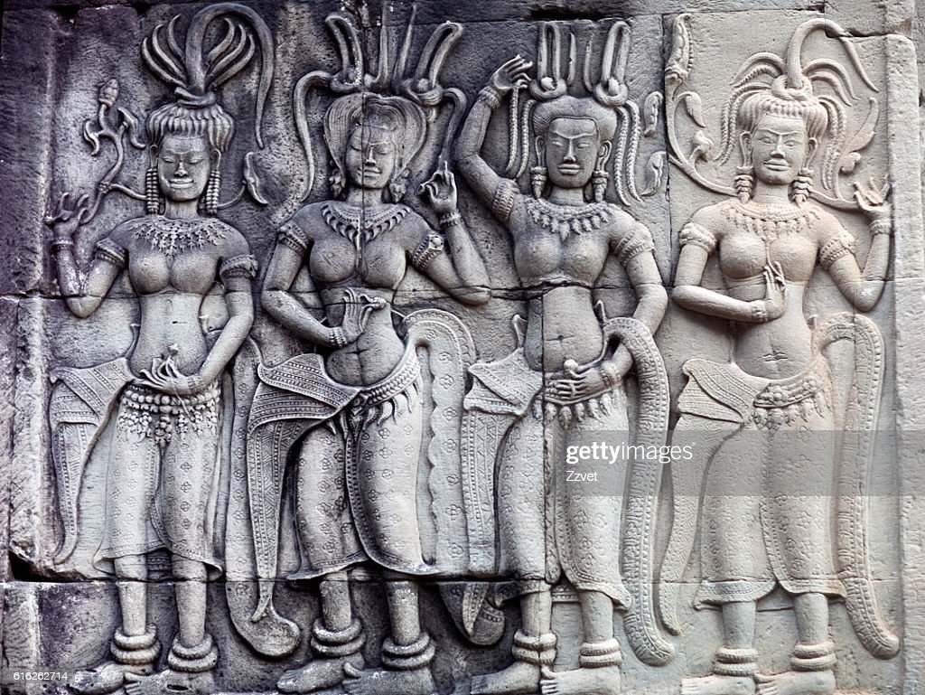 Reliefs at Angkor Wat, Cambodia : Foto de stock