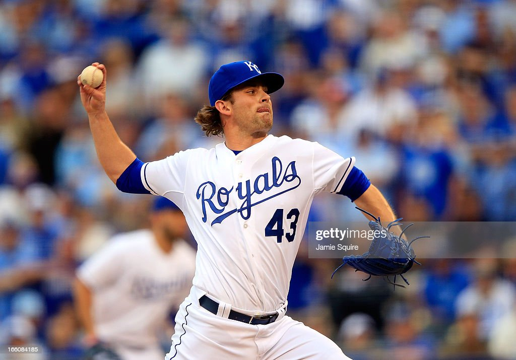 Reliever <a gi-track='captionPersonalityLinkClicked' href=/galleries/search?phrase=Aaron+Crow&family=editorial&specificpeople=6780128 ng-click='$event.stopPropagation()'>Aaron Crow</a> #43 of the Kansas City Royals delivers during the Kansas City Royals home opener against the Minnesota Twins at Kauffman Stadium on April 8, 2013 in Kansas City, Missouri.