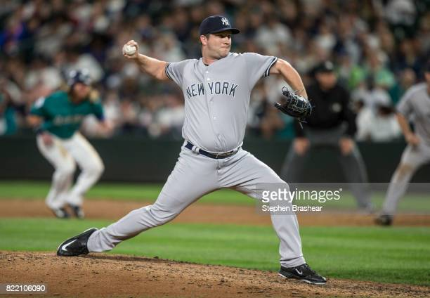 Reliever Adam Warren of the New York Yankees delivers a pitch during a game against the Seattle Mariners at Safeco Field on July 21 2017 in Seattle...