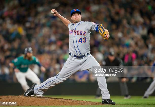Reliever Addison Reed of the New York Mets delivers a pitch during the ninth inning of an interleague game against the Seattle Mariners at Safeco...