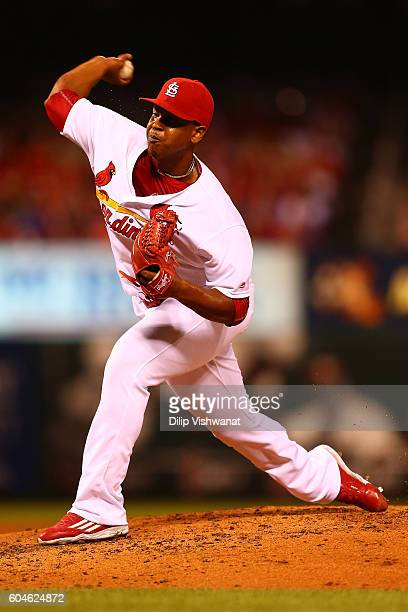 Reliever Alex Reyes of the St Louis Cardinals pitches against the Chicago Cubs in the third inning at Busch Stadium on September 13 2016 in St Louis...