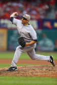 Reliever Alfredo Aceves of the New York Yankees pitches against the St Louis Cardinals in the ninth inning at Busch Stadium on May 26 2014 in St...