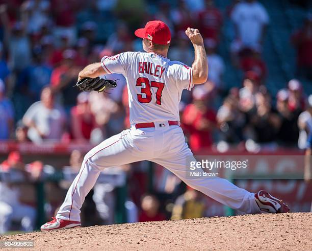 Reliever Andrew Bailey of the Los Angeles Angels of Anaheim pitches during the ninth inning of the game against the Texas Rangers at Angel Stadium of...