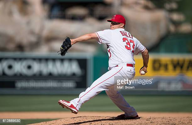 Reliever Andrew Bailey of the Los Angeles Angels of Anaheim pitches during the ninth inning of the game against the Houston Astros at Angel Stadium...