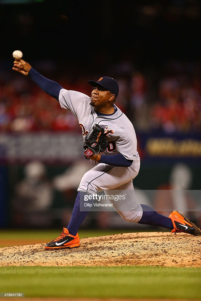 Reliever Angel Nesbitt #60 of the Detroit Tigers pitches against the St. Louis Cardinals in the seventh inning at Busch Stadium on May 15, 2015 in St. Louis, Missouri.