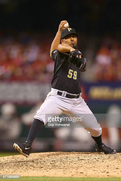 Reliever Antonio Bastardo of the Pittsburgh Pirates pitches against the St Louis Cardinals in the seventh inning at Busch Stadium on May 1 2015 in St...