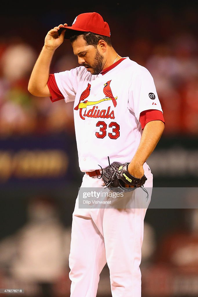 Reliever Carlos Villanueva #33 of the St. Louis Cardinals reacts after allowing a game-winning tow-run home run against the San Diego Padres in the eleventh inning at Busch Stadium on July 2, 2015 in St. Louis, Missouri. The Padres beat the Cardinals 5-3 in 11 innings.