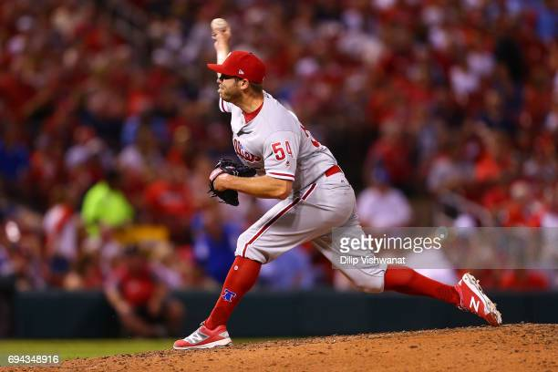 Reliever Casey Fien of the the Philadelphia Phillies delivers a pitch against the St Louis Cardinals in the seventh inning at Busch Stadium on June 9...