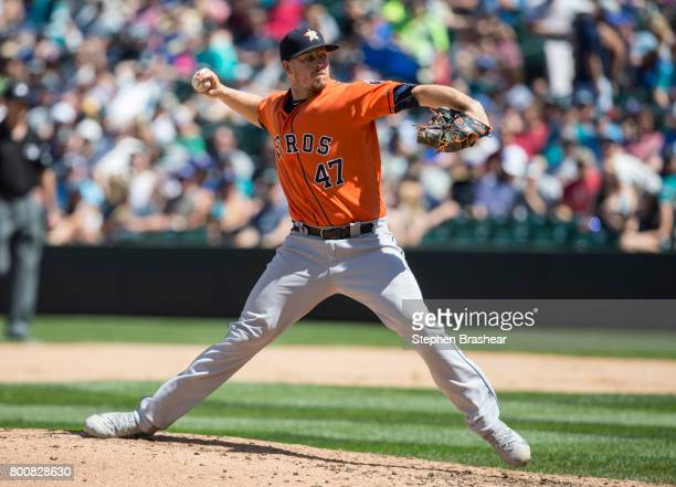 Reliever Chris Devenski of the Houston Astros delivers a pitch during the fifth inning of a game against the Seattle Mariners at Safeco Field on June...