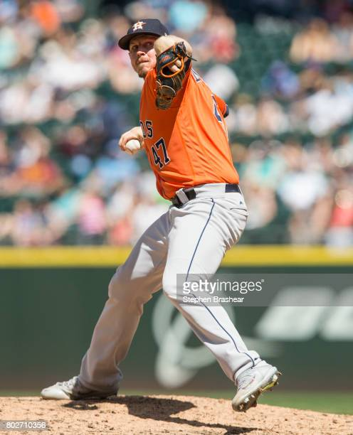 Reliever Chris Devenski of the Houston Astros delivers a pitch during a game against the Seattle Mariners at Safeco Field on June 25 2017 in Seattle...
