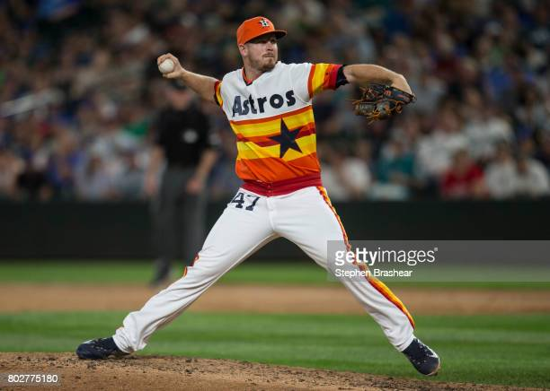 Reliever Chris Devenski of the Houston Astros delivers a pitch during a game against the Seattle Mariners at Safeco Field on June 24 2017 in Seattle...
