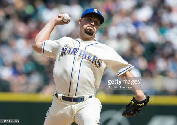 Reliever Dan Altavilla of the Seattle Mariners delivers a pitch during a game against the Chicago White Sox at Safeco Field on May 21 2017 in Seattle...