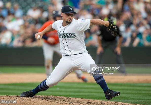 Reliever Dan Altavilla of the Seattle Mariners delivers a pitch during a game against the Houston Astros at Safeco Field on September 4 2017 in...