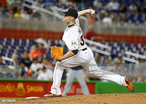 Reliever David Phelps of the Miami Marlins throws against the Milwaukee Brewers at Marlins Park on May 9 2016 in Miami Florida