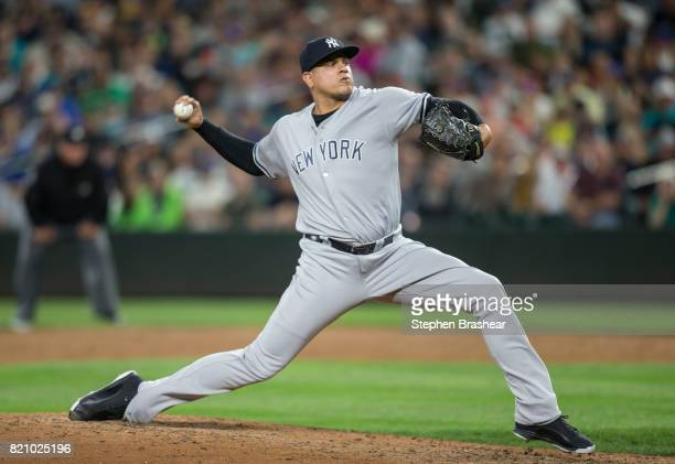 Reliever Dellin Betances of the New York Yankees delivers a pitch during a game against the Seattle Mariners at Safeco Field on July 20 2017 in...