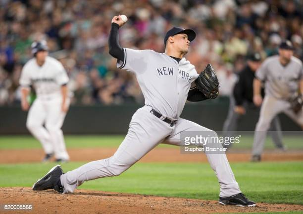 Reliever Dellin Betances of the New York Yankees delivers a pitch during the eighth inning of a game against the Seattle Mariners at Safeco Field on...