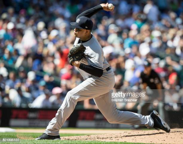 Reliever Dellin Betances of the New York Yankees delivers a pitch during the seventh inning of a game against the Seattle Mariners at Safeco Field on...