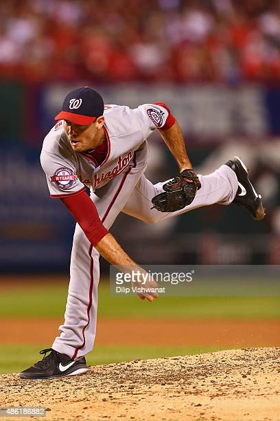 Reliever Doug Fister of the Washington Nationals pitches against the St Louis Cardinals in the third inning at Busch Stadium on September 1 2015 in...
