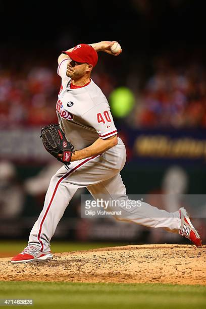 Reliever Dustin McGowan of the Philadelphia Phillies pitches against the St Louis Cardinals in the third inning at Busch Stadium on April 28 2015 in...