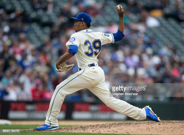 Reliever Edwin Diaz of the Seattle Mariners delivers a pitch during the ninth inning of a game against the Texas Rangers at Safeco Field on April 16...