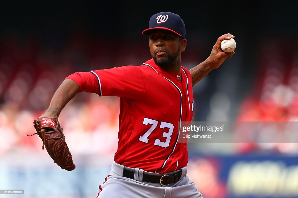 Reliever Felipe Rivero #73 of the Washington Nationals pitches against the St. Louis Cardinals in the eighth inning at Busch Stadium on May 1, 2016 in St. Louis, Missouri.