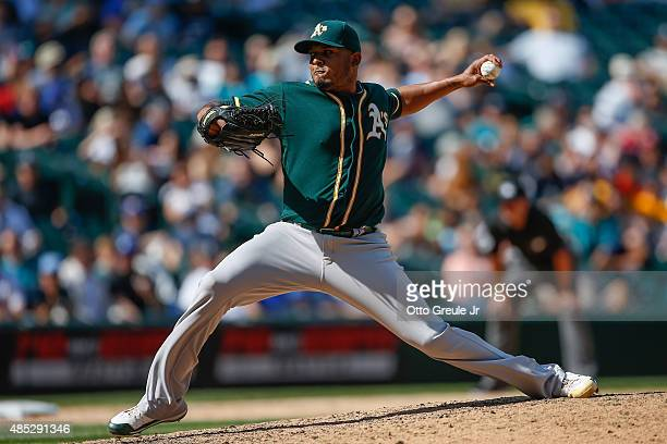 Reliever Fernando Abad of the Oakland Athletics pitches against the Seattle Mariners in the eighth inning at Safeco Field on August 26 2015 in...