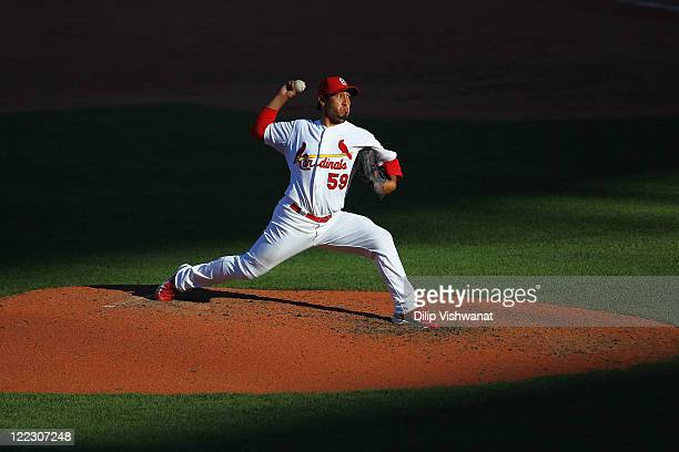 Reliever Fernando Salas of the St Louis Cardinals pitches against the Pittsburgh Pirates at Busch Stadium on August 27 2011 in St Louis Missouri The...