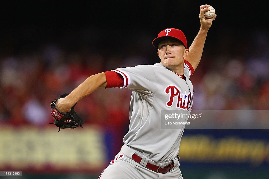Reliever Jacob Diekman #63 of the Philadelphia Phillies pitches against the St. Louis Cardinals at Busch Stadium on July 23, 2013 in St. Louis, Missouri. The Cardinals beat the Phillies 4-1.
