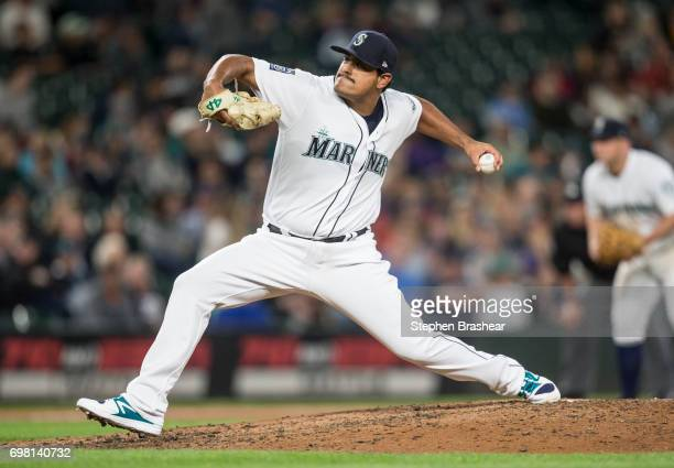 Reliever James Pazos delivers a pitch during the seventh inning of a game against the Detroit Tigers at Safeco Field on June 19 2017 in Seattle...