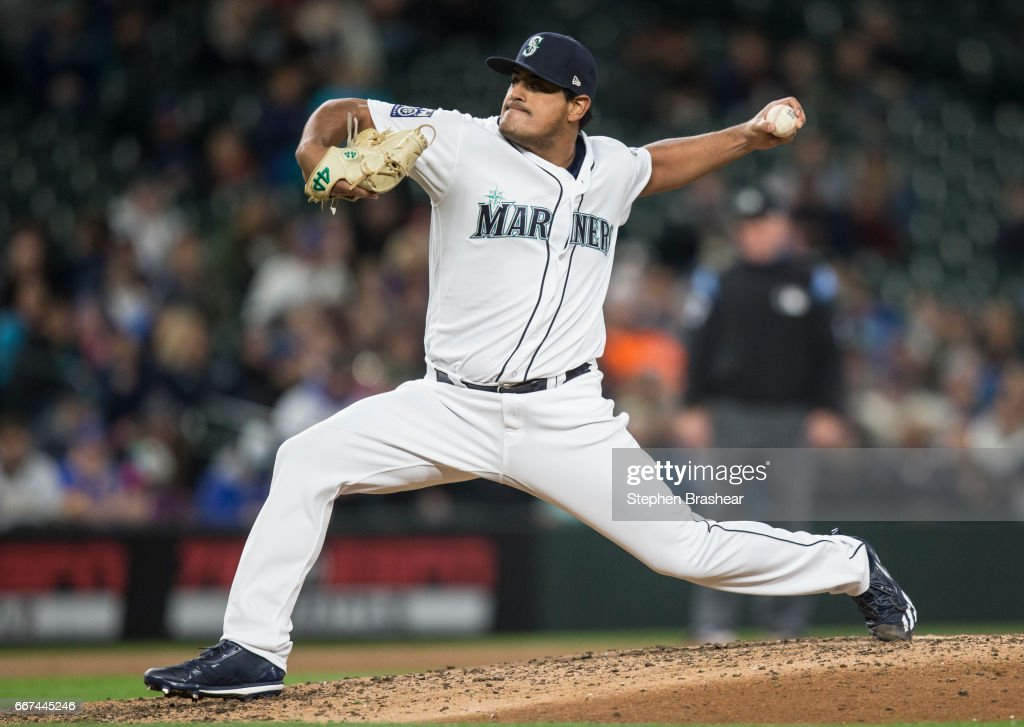 Reliever James Pazos #47 of the Seattle Mariners delivers a pitch during the sixth inning of a game against the Houston Astros at Safeco Field on April 11, 2017 in Seattle, Washington.