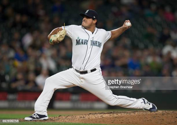 Reliever James Pazos of the Seattle Mariners delivers a pitch during a game against the Colorado Rockies at Safeco Field on May 31 2017 in Seattle...