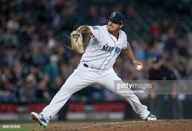 Reliever James Pazos of the Seattle Mariners delivers a pitch during a game against the Detroit Tigers at Safeco Field on June 19 2017 in Seattle...